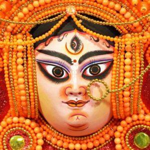 Leaf Styled Crowned Devi Chhau Mask Orange
