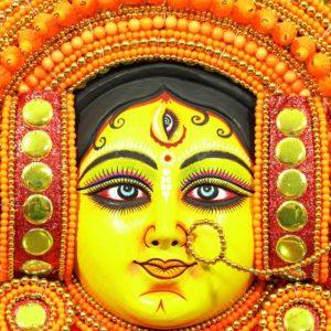 Mantap Styled Crowned Devi Chau Mask - Orange