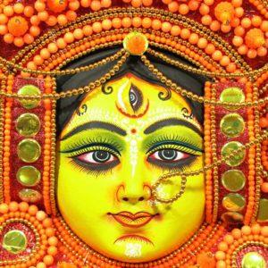 Wing Styled Crowned Devi Chhau Mask Orange