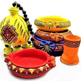 Authentic GI Tagged Pondicherry Villianur Terracotta Handcrafted Vibrant Colorful Decorative Show Piece items for Home and Living