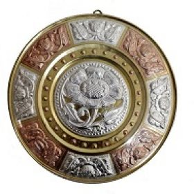 Authentic GI Tagged Tamil Nadu Thanjavur Silver and Brass Art plate - Handcrafted Show Piece Items for Home and Living & temples