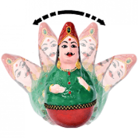 Authentic GI Tagged Tamil Nadu Thanjavur raja rani - Handcrafted Rolly polly dolls for Home Decorations, Gifting and Children Toy